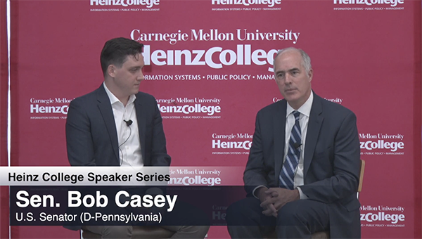 U.S. Senator Bob Casey speaking at Heinz College