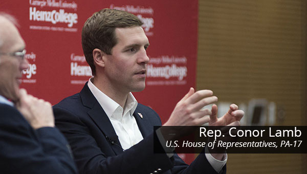 Representative Conor Lamb speaks at Heinz College