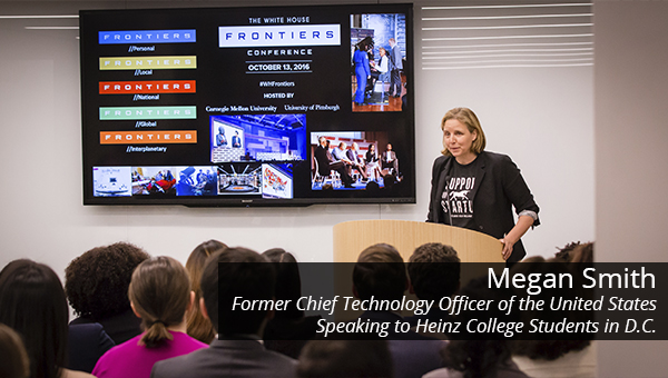 Former US CTO Megan Smith speaks to Heinz College DC students