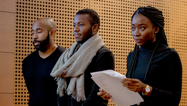 Students Performing at a Poetry Reading