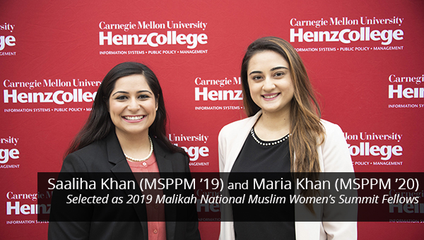 Heinz College students Maria Khan and Saaliha Khan