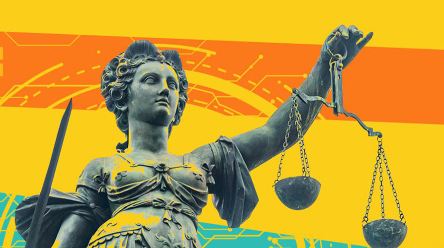 PIT-UN press image, statue of justice on yellow background
