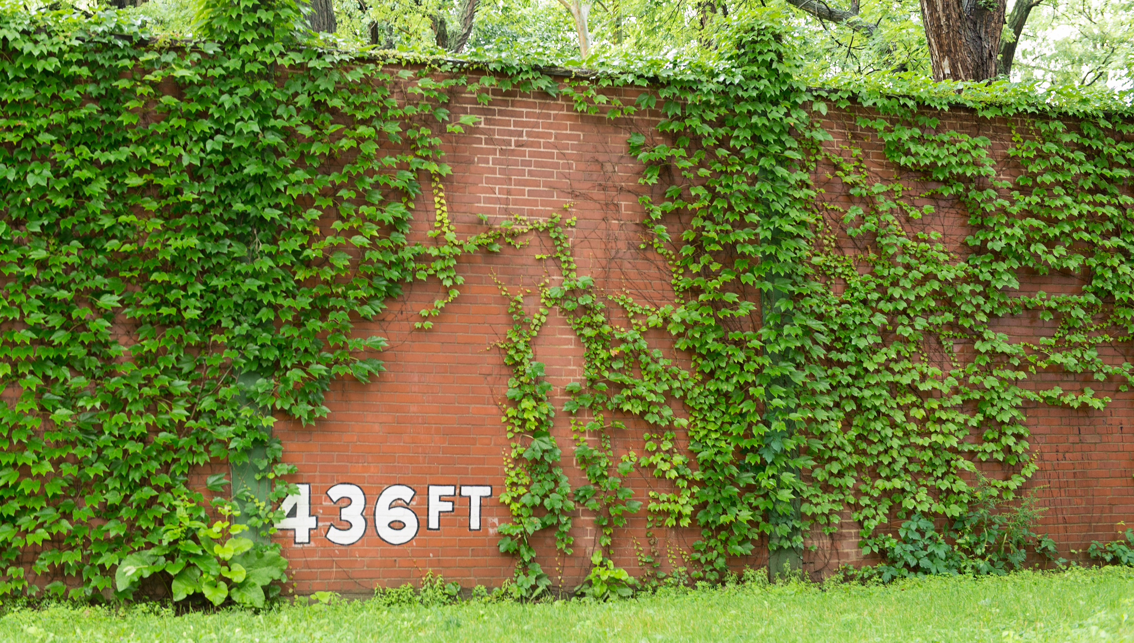 The outfield wall at Forbes Field, former home of the Pittsburgh Pirates baseball team