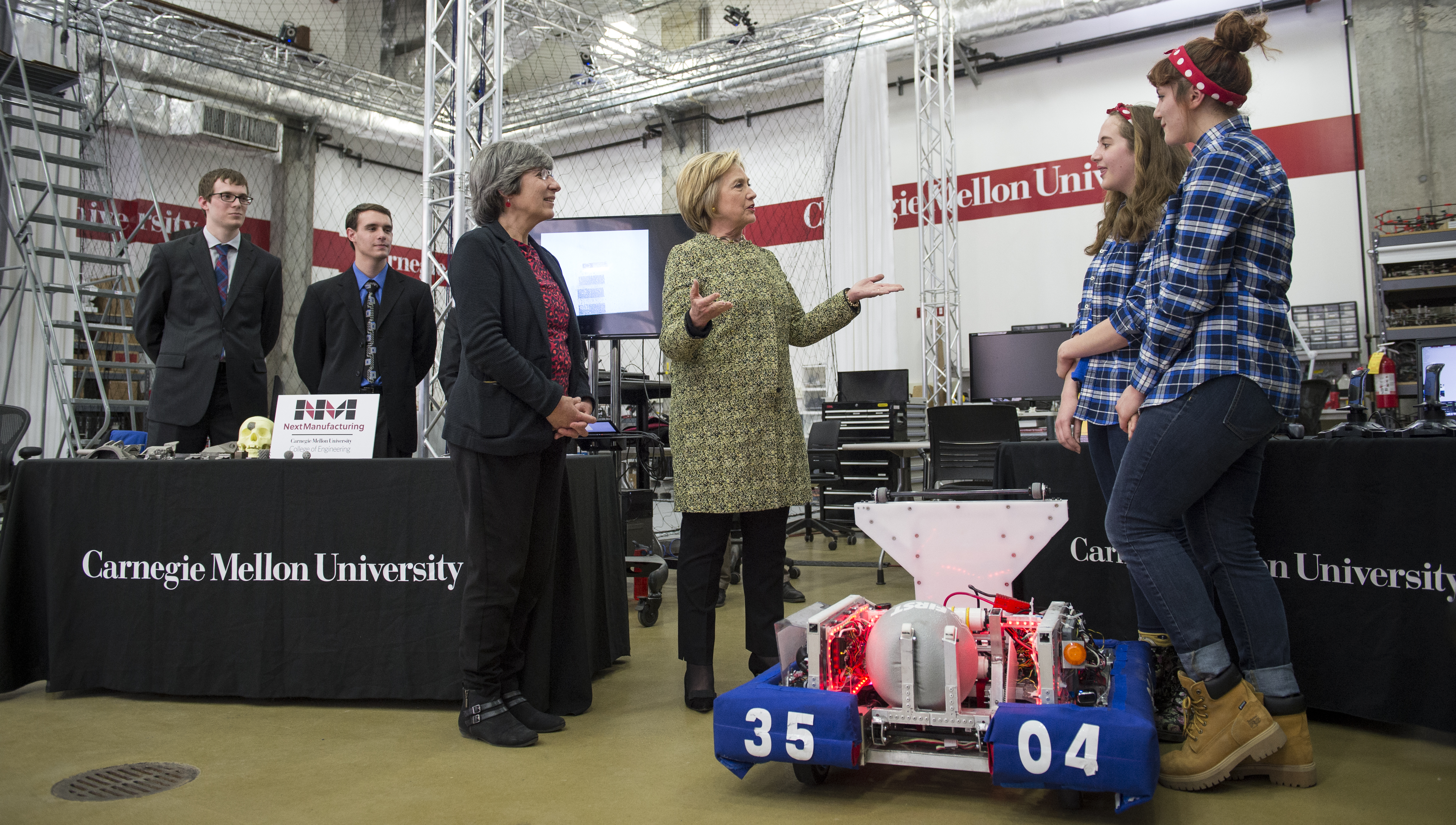 Hillary Rodham Clinton speaking to Carnegie Mellon students at the CMU Robotics Institute