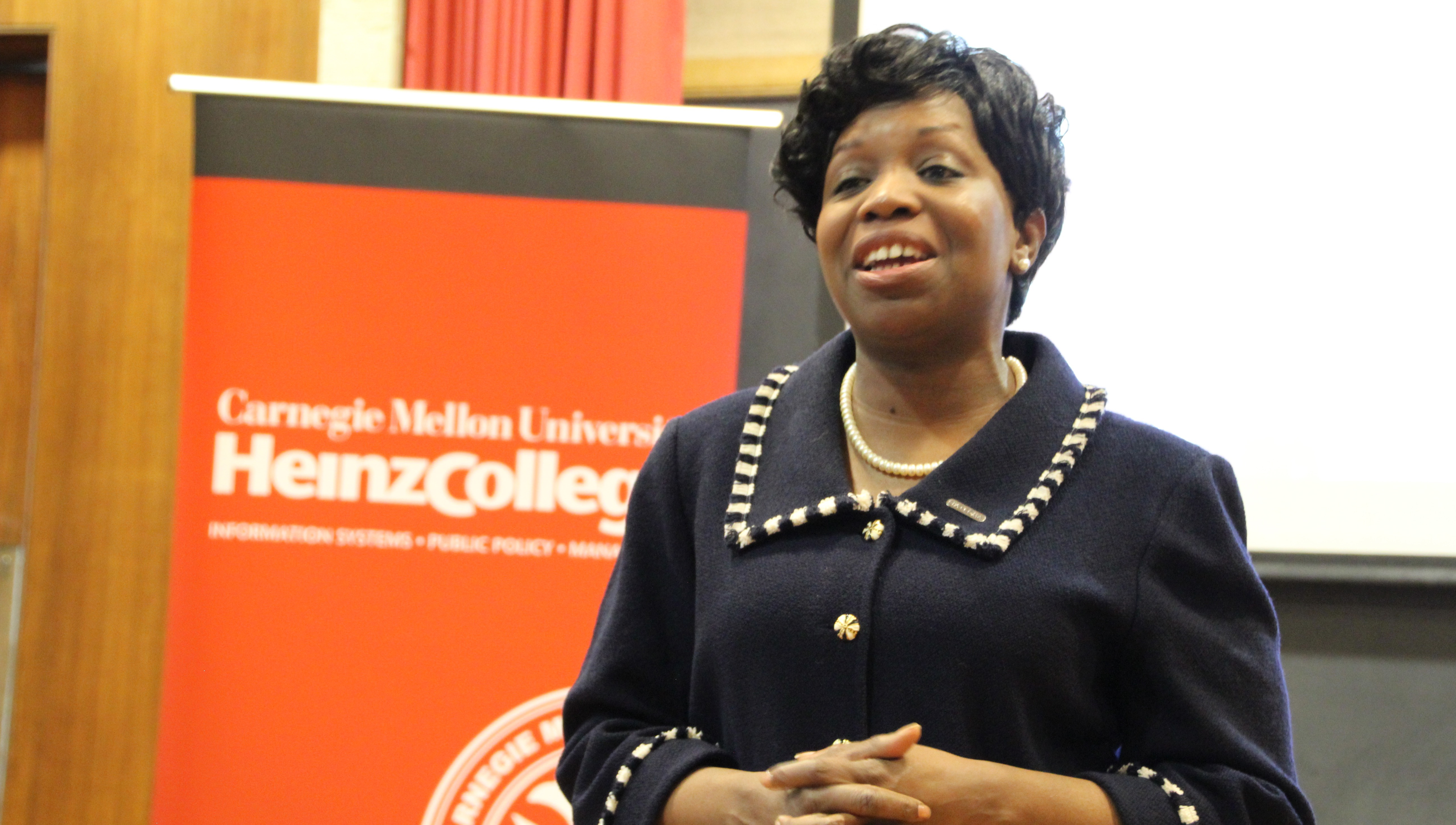 Kimberly Ellison-Taylor speaking at Heinz College
