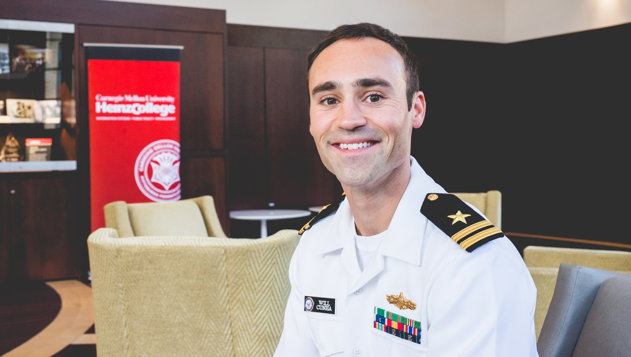 Lieutenant Will Cunha, Heinz College student and veteran of the United States Navy