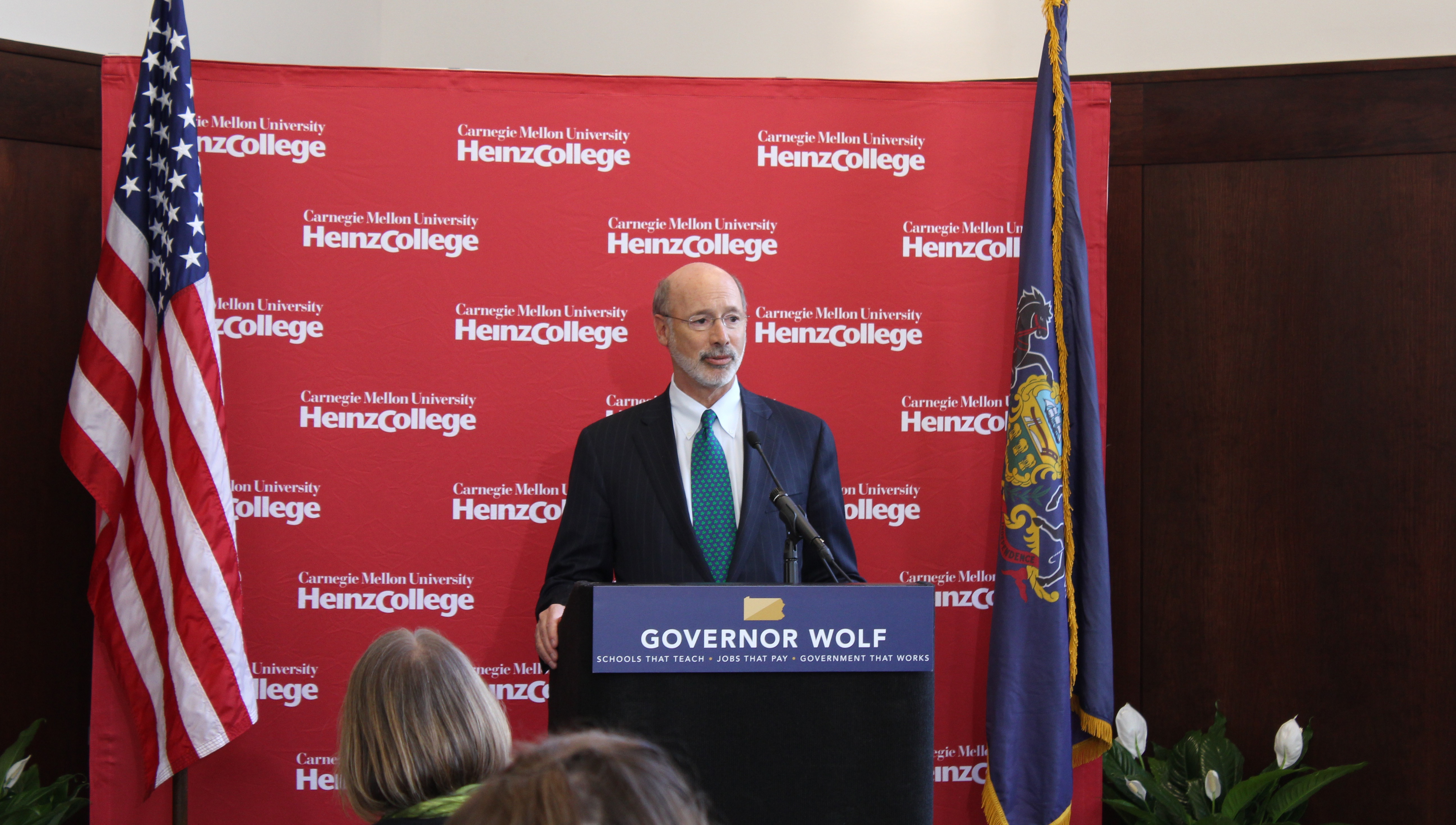 Pennsylvania Governor Tom Wolf speaking at Heinz College