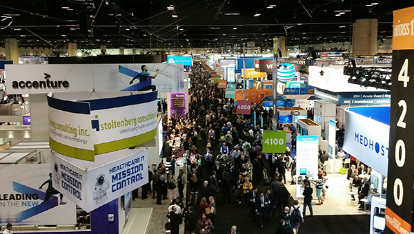 A picture of the floor of HIMSS, a healthcare conference with over 40,000 participants