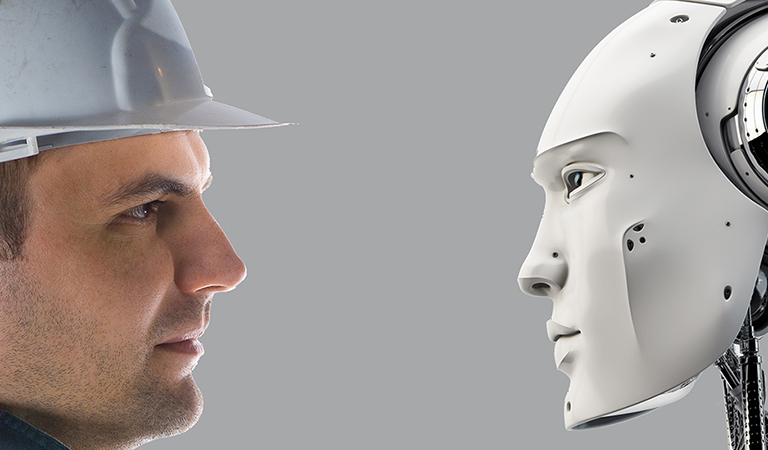 concept art of a worker face-to-face with a robot