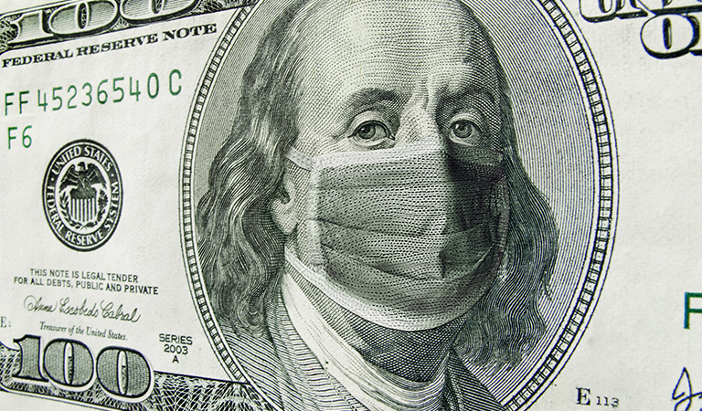 graphic image of a one hundred dollar bill with ben franklin's face covered by a face mask