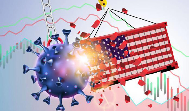 graphic art of American Flag breaking through a virus