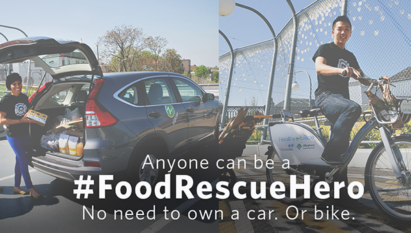 An ad showing food rescuers with a call to action