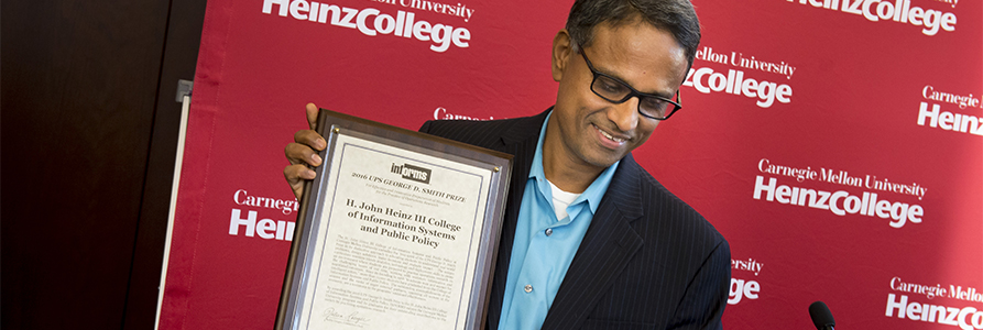 Ramayya Krishnan accepting the UPS George D. Smith Prize for Heinz College