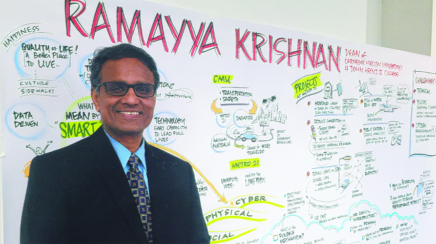 Krishnan in front of a concept whiteboard during Deloitte Smart Cities partner meeting