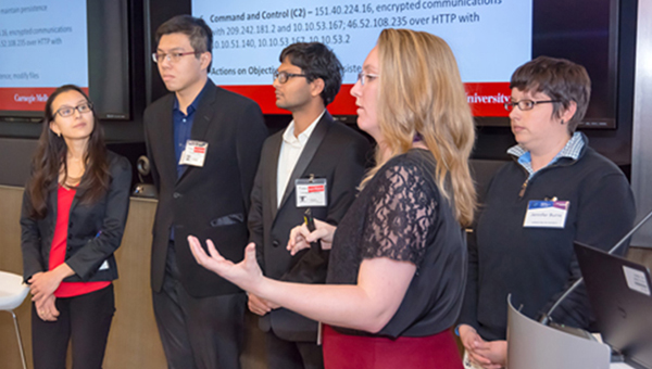 Students presenting at National Cyber Analyst Challenge