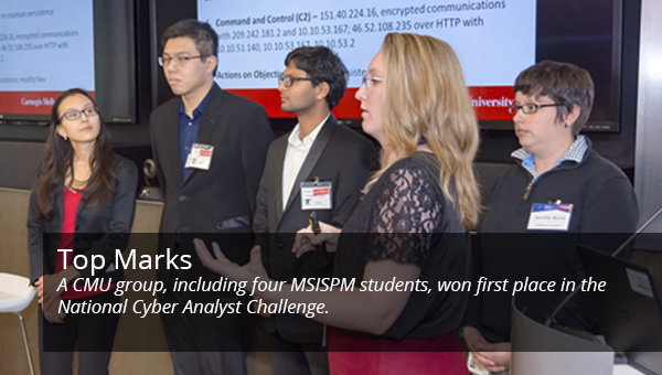 image of students on winning team at NCAC cyber challenge