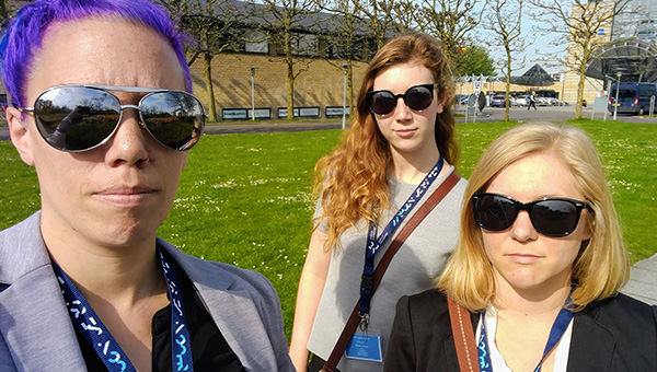 Students wearing sunglasses during a visit to Denmark
